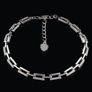 Silver bracelet rectangular links