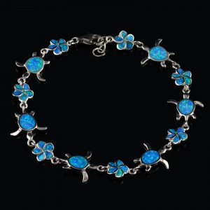 Silver bracelet flowers and turtle with Opal gemstone