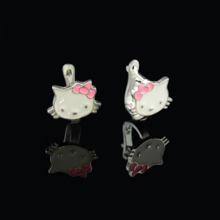 Children's silver earrings kittens with enamel with ribbon