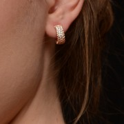 Silver earrings with zircons and rhodium