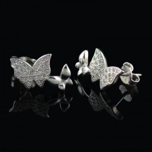 Silver earrings butterfly
