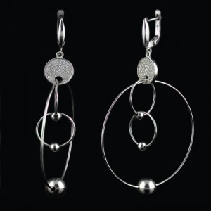 Hanging earrings rings with balls
