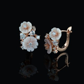 Earrings gentle flowers and zircons 2