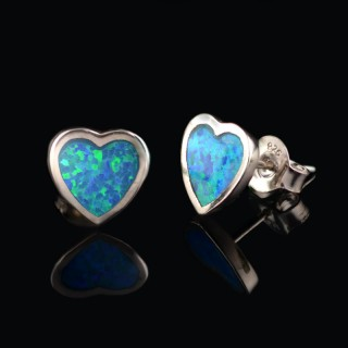 Heart earrings with Opal gemstones