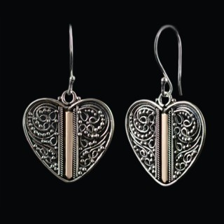 Silver earrings heart