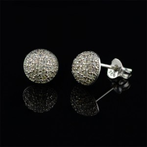 Silver earrings semicircle with white zircons