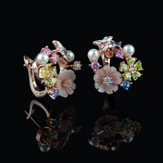 Silver earrings mother of pearl's flowers and butterfly