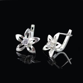 Silver earrings flowers with zircon