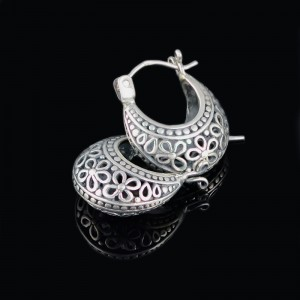 Silver earrings with ornaments