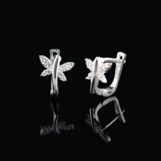 Kids silver earrings butterfly