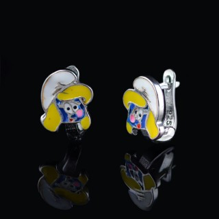 Children silver earrings The Smurfs