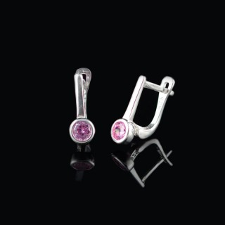 Kids silver earrings with rose stone