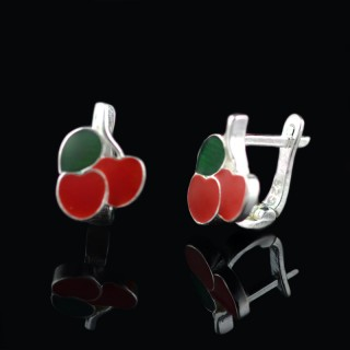 Children silver earrings cherry 2