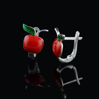 Children's silver earrings cherries