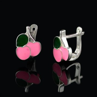 Children silver earrings cherry