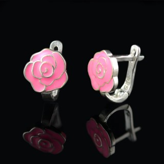 Children silver earrings rose