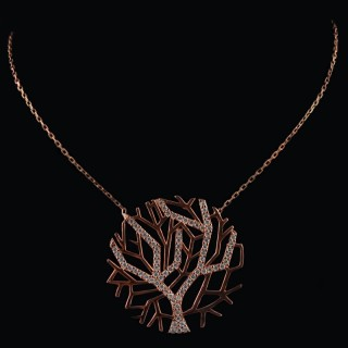 Silver necklace the Tree of life covered with rose rhodium