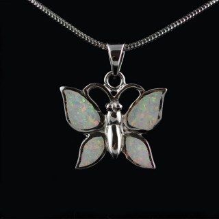Silver pendant butterfly with Opal