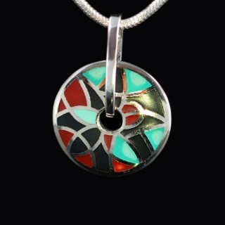 Silver pendant with colorful enamel