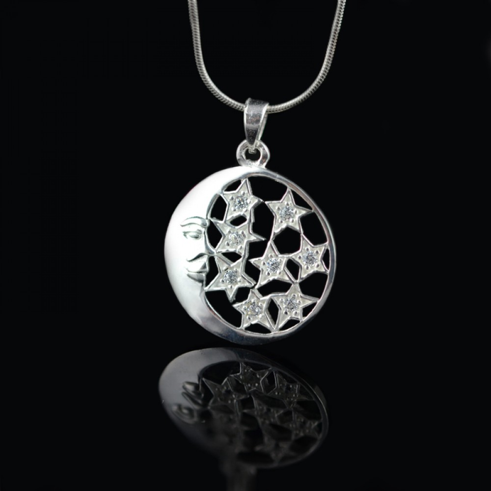 Silver pendant moon and stars