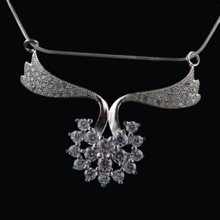 Silver pendant with zircons