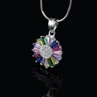 Silver pendant with colorful pendants
