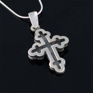 Silver cross with black rhodium