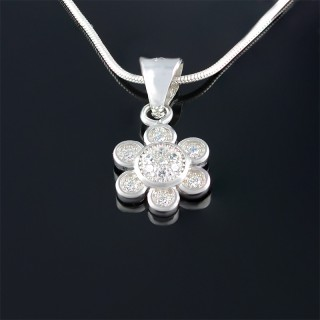 Silver medallion flower of zircons