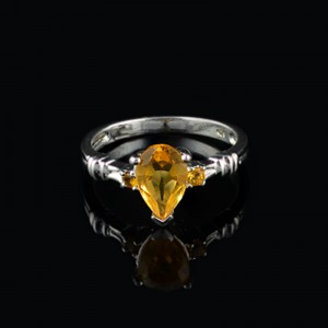 Silver ring with gemstone Citrine