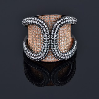 Silver ring with zircon and black rhodium