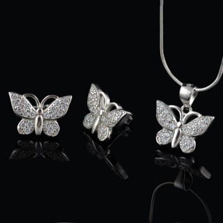 Set of earrings and necklace butterfly