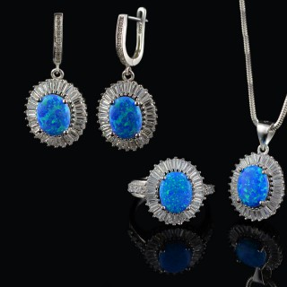 Silver set Opal and circons