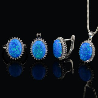Silver set with gemstones mountain Opals