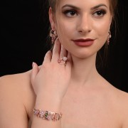 Elegant silver set of earrings and ring