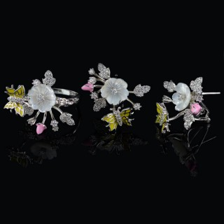 Gentle silver set of flowers and butterfly