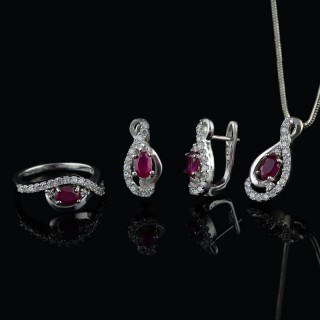 Silver set with Ruby gemstones