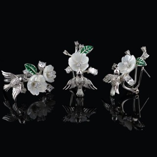 Silver set of gentle flowers and bird