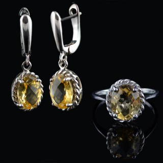 Silver ring and earrings with Citrine gemstones