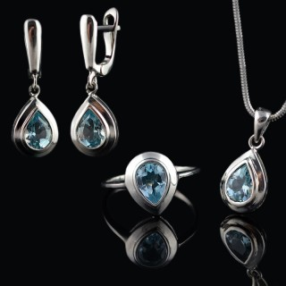 Silver set with Topaz gemstones