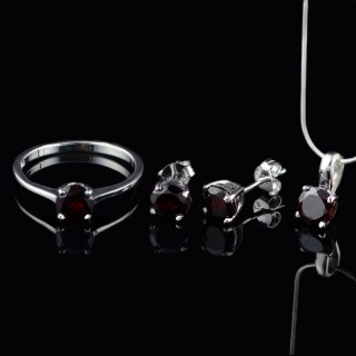 Silver set Garnet gemstones