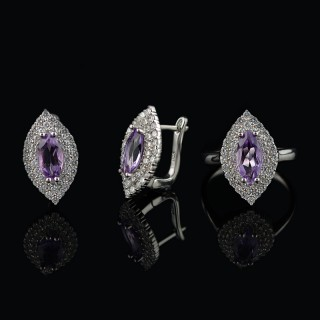 Ring and earrings with Amethyst
