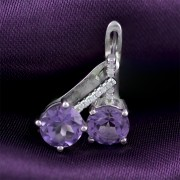 Silver earrings with zircon and amethyst
