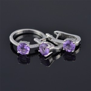 Silver ring and earrings with zircon and amethyst