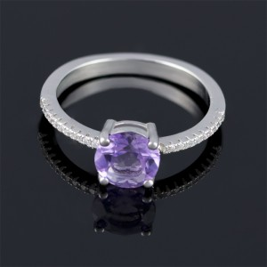 Silver ring with zircon and amethyst