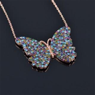 Сребърна пеперуда с камъни