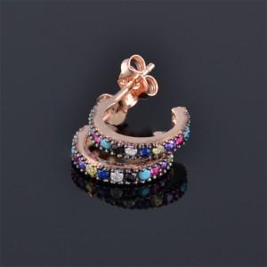 Нежни обеци с палитра цветни камъни
