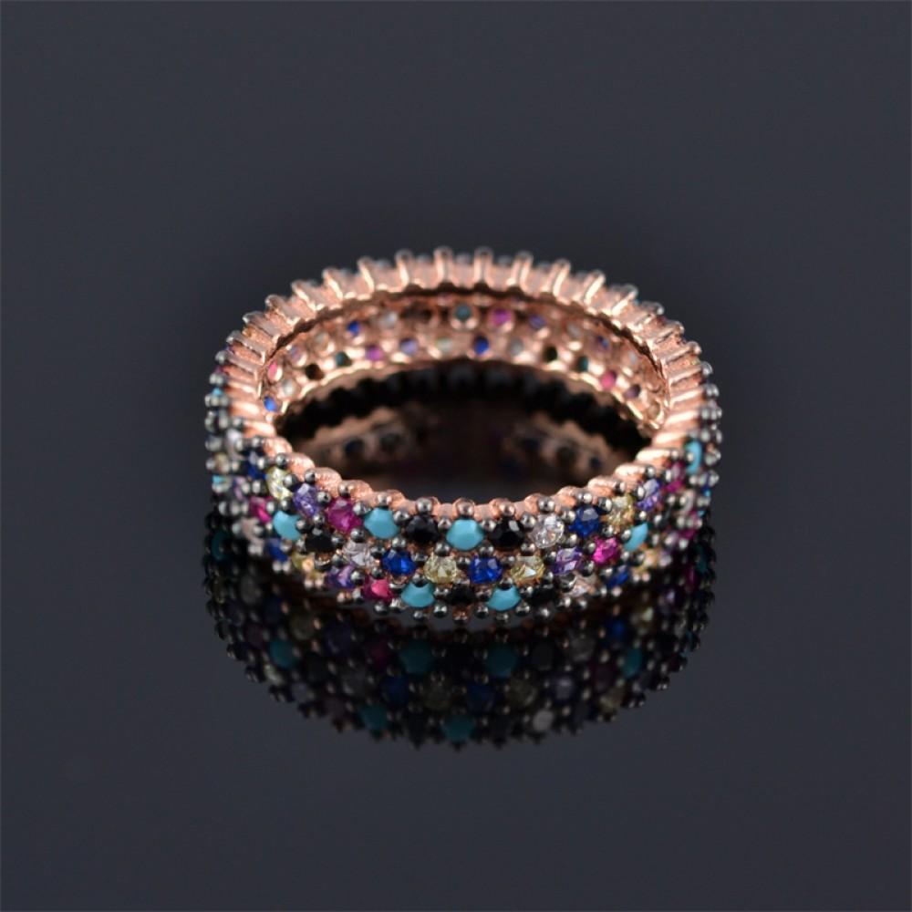 Сребърен пръстен палитра от камъни