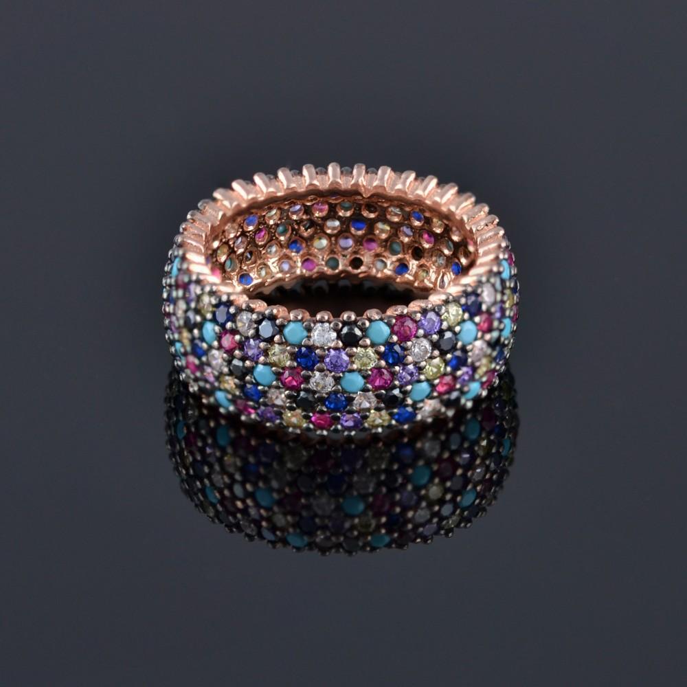 Сребърен пръстен с палитра от камъни
