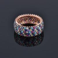 Сребърен пръстен с палитра от естествени камъни